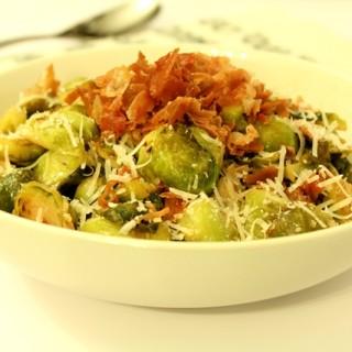 Prosciutto Parmesan Brussel Sprouts l Thanksgiving Side Dish l cookinginmygenes.com