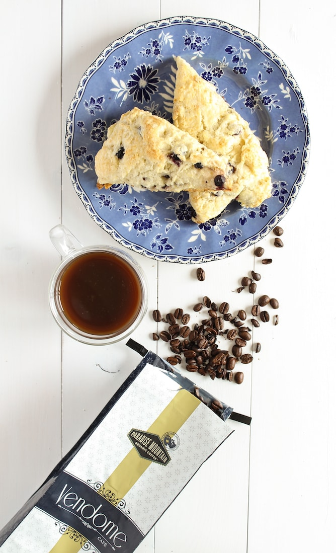 My Perfect Weekend Morning with coffee and Saskatoon Berry Scones | cookinginmygenes.com