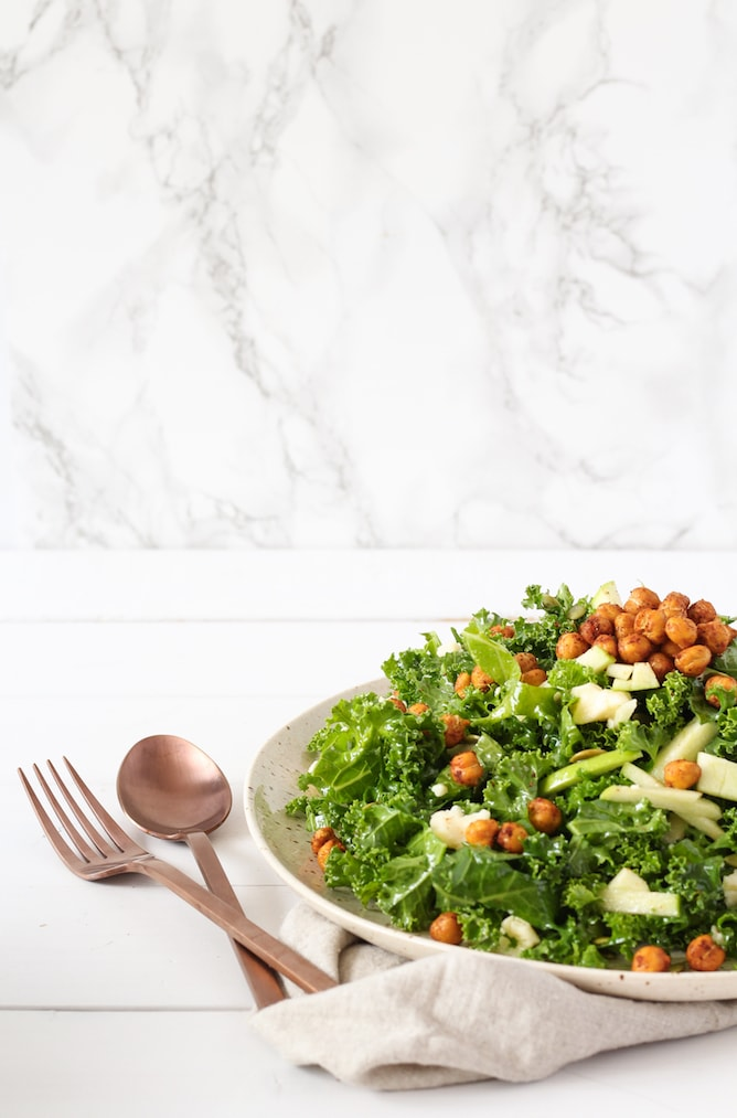Kale, Apple and Cheddar Salad with Spicy Chickpeas | cookinginmygenes.com