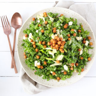 Kale, Apple & Cheddar Salad with Spicy Chickpeas