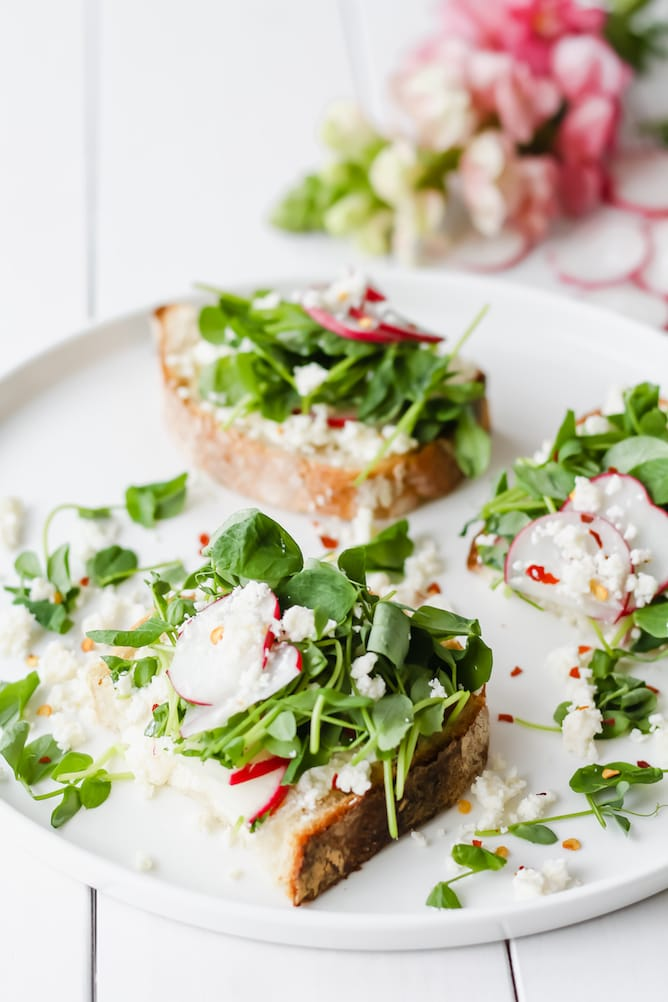 Spring Toast with Radishes, Pea Shoots and Feta | cookinginmygenes.com