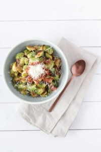 Prosciutto Parmesan Brussels Sprouts | cookinginmygenes.com