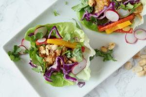 Peanut Chicken Lettuce Wraps l cookinginmygenes.com