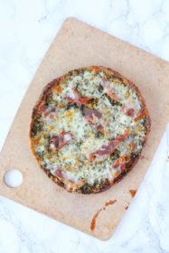 Prosciutto Pesto Pita Pizza l cookinginmygenes.com