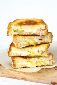 Grilled Cheese with Pickles & Red Onions from cookinginmygenes.com
