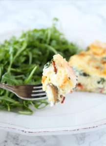 Bacon, Mushroom & Spinach Quiche from cookinginmygenes.com