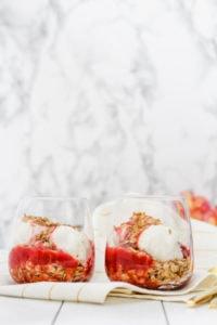 Strawberry Rhubarb Toasted Oat Sundae | cookinginmygenes.com