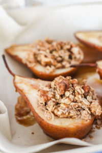 Baked Pears with Cardamom Cream | cookinginmygenes.com