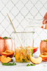 Peach Basil Wine Spritzer   cookinginmygenes.com