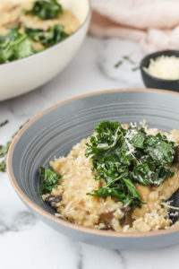 Winter Oven Baked Risotto with Mushrooms & Kale