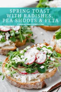 Spring Toast with Radishes, Pea Shoots & Feta