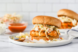 Spicy Turkey Burgers with Dill Slaw