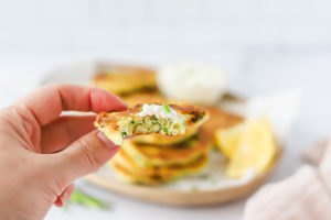 Zucchini Fritters with Garlic Yogurt Dipping Sauce