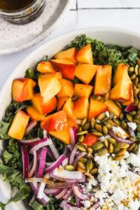 Kale & Peach Salad with Feta and Toasted Pepitas